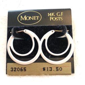 """Monet NWT Vintage White 14k Post Earrings 1"""" Hoop"""